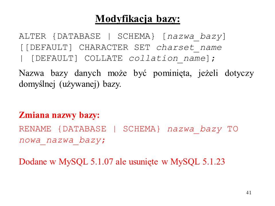 Modyfikacja bazy: ALTER {DATABASE | SCHEMA} [nazwa_bazy]